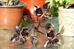 Kovácsolvas rózsa csokor 3 - szálas bronz antikolással