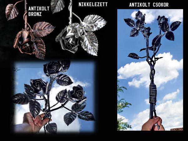 Kovácsoltvas Rózsa - nikkel -bronz antikolás