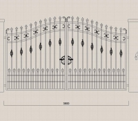 kovácsoltvas kapu rajz