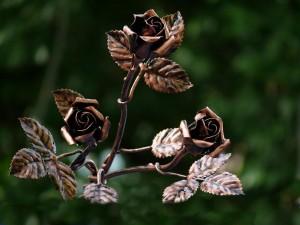 Kovácsoltvas rózsa csokor 3-db-os
